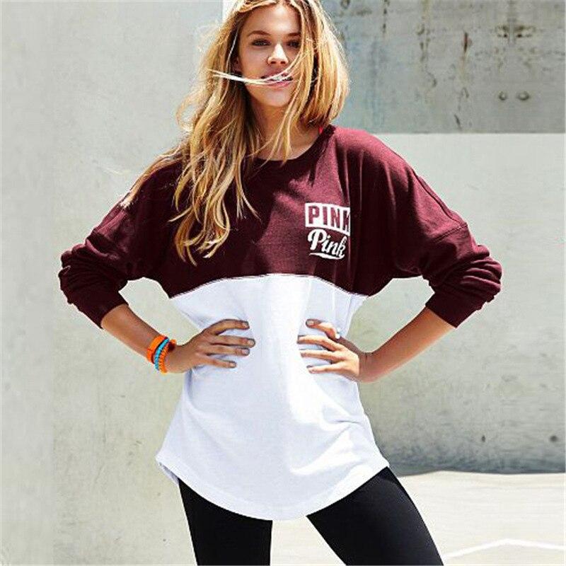 Women Casual Pink Hoodies Letter Printed Patchwork font b Women s b font Streetwear Sportsuit Loose
