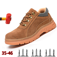 Fashion Mens steel toe safety shoes bulletproof material soles lightweight insulation site welder work boot