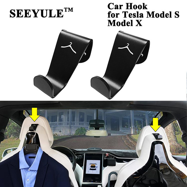 SEEYULE Interior Accessories Car Seat Headrest Hook Hanger Purse Bag Holder Organizer Clip Storage for Tesla Model S Model X