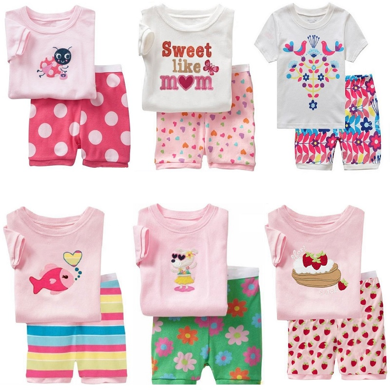 Hooyi Summer Baby Girls Clothes Suits Cotton Children Sleepwear Sets Pink White Girl's T-Shirts Shorts Pants Pajamas 2pcs Sets 2017 summer girls sets clothes short sleeve chiffon baby girls sets for kids big girls t shirts and stripe shorts children suits