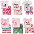 Hooyi летняя одежда для маленьких девочек, костюмы, хлопковые комплекты детской одежды для сна, розовые белые футболки и шорты для девочек, шта...