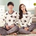 Amante casal conjuntos de pijama coral do velo pijamas Peignoir casa thicking inverno e lã de flanela sleepwear