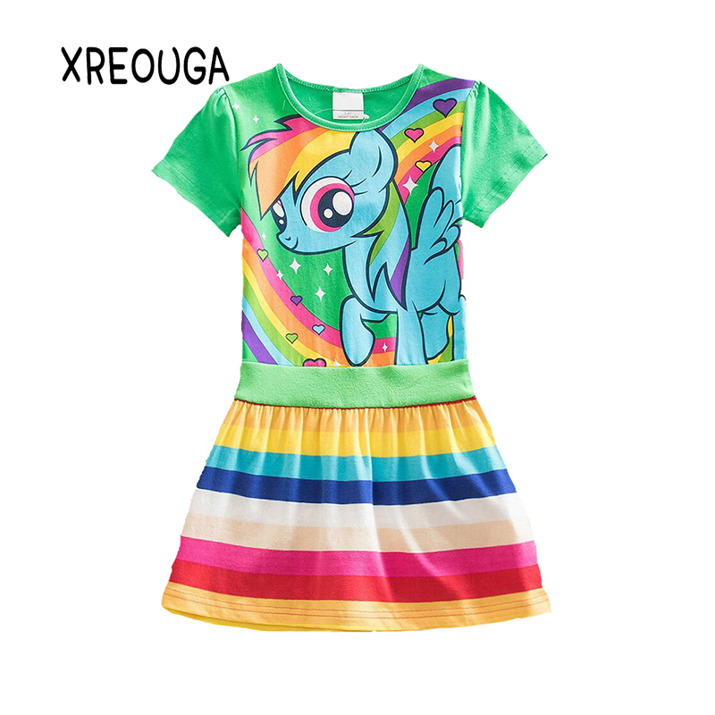 XREOUGA New Hot My Baby Girl Dress Children Girl little Pony Dresses Cartoon Princess Party Costume Kids Clothes Summer Clothing summer 2017 new girl dress baby princess dresses flower girls dresses for party and wedding kids children clothing 4 6 8 10 year