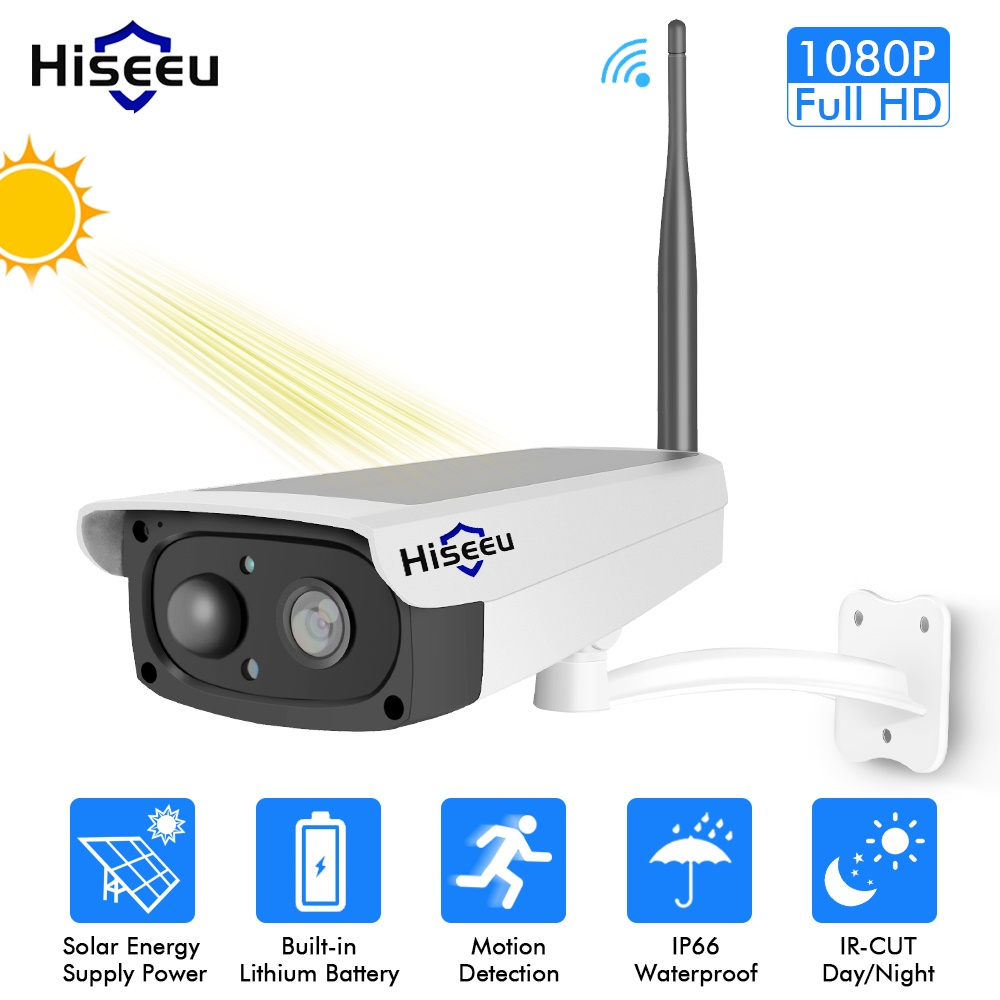 Hiseeu Solar Panel Rechargeable Batter Security WIFI IP Camera Outdoor 1080P Motion Detection E mail Alert