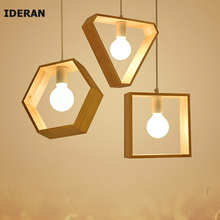 IDERAN wood Pendant Lights bedroom restaurant Art colorful restaurant coffee restaurant lighting Creative solid  E27 lamp holder