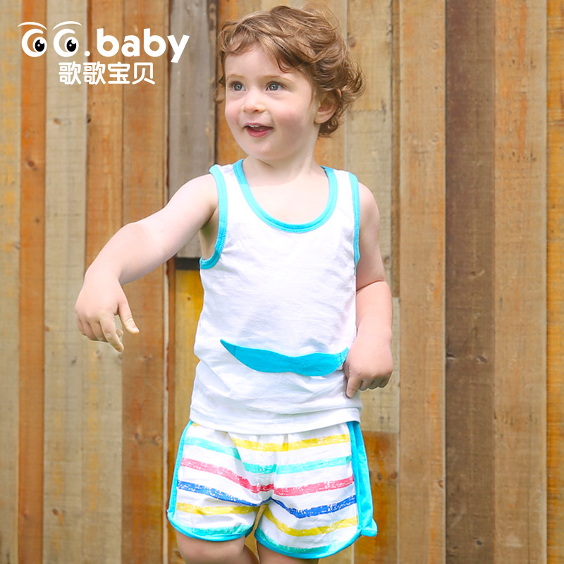 Cotton Striped Shorts Sleeveless Moustache T shirts Newborn Baby Girl Outfit Boy Clothes Summer Set Suit Clothing Sets For Bebes