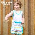Listrado Meninas Roupa Do Bebê Recém-nascido Menino Conjunto Roupas de Verão Sem Mangas t Shorts Terno de Algodão Infantil Define Vestuário Para Bebes