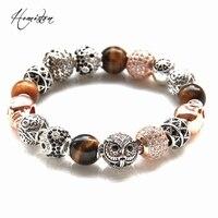 Thomas Style KM Bead Bracelet With OWL TIGER EYE YIN YANG ZIGZAG SKULL Beads Rebel Heart