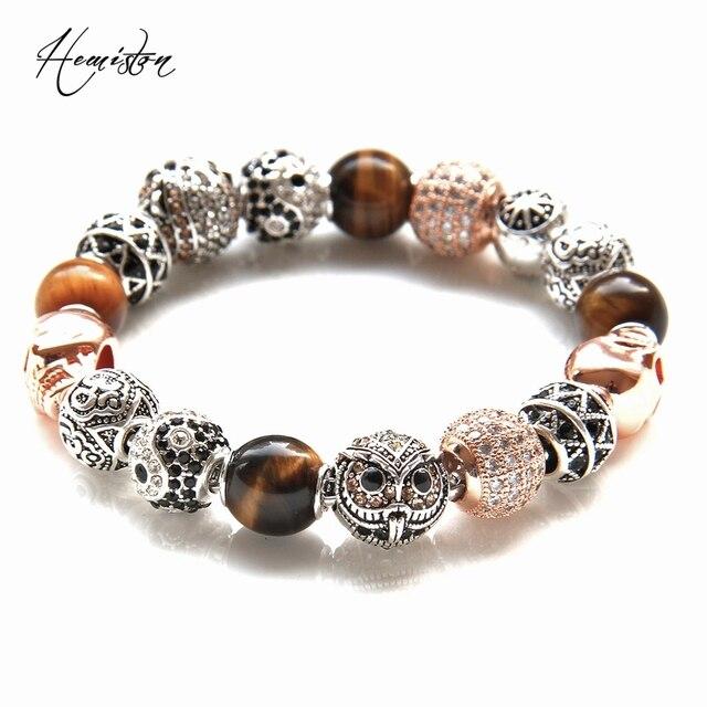 Thomas Rose Gold Color OWL, TIGER EYE, YIN-YANG , ZIGZAG, SKULL Beads Men Bracelets, Rebel Heart Bracelet For Men TS KB581