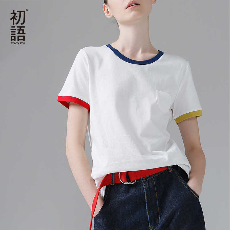 900e10893cdd Toyouth Hit Color Edge Tees For Women Basic Cotton T-Shirt Casual O-Neck