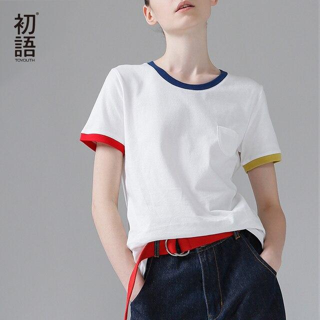 Toyouth Hit Màu Cạnh Tees Đối Với Phụ Nữ Cơ Bản Cotton T-Shirt Casual O-Neck Tee Áo Sơ Mi Femme S ~ XXL Mùa Hè Tops ngắn Tay Áo T-Shirt