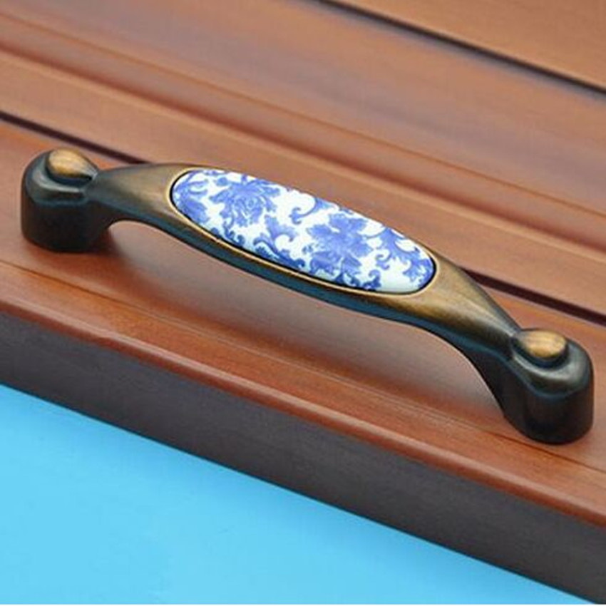 96mm Vintage Ceramic Furniture Handles White And Blue