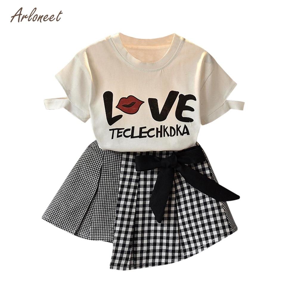 b1607f8c09d29 ARLONEET 2 PCS Toddler Enfants Bébé Filles D été Outfit Vêtements T ...