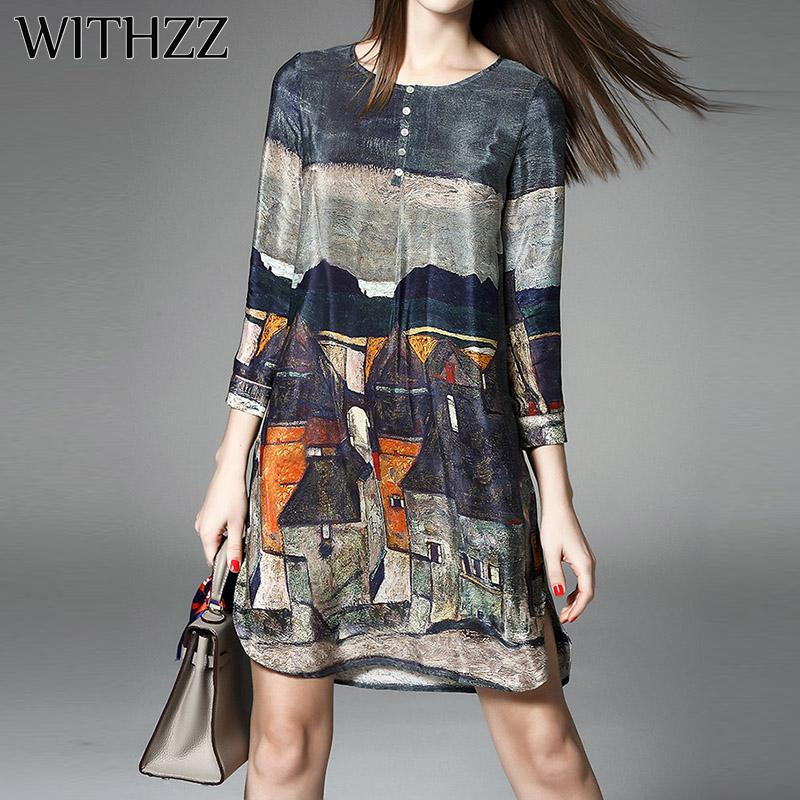 WITHZZ Chiffon Dress Women Spring Autumn Vintage A-line Printing Loose Plus  Size Dresses Top Quality Three Quarter Sleeves
