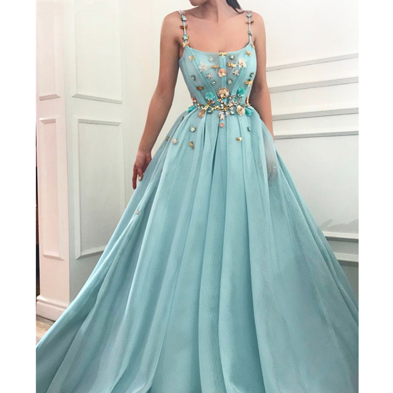 Robe Soiree Dubai Muslim   Evening     Dresses   Long Illusion Sleeveless Flowers Tulle Formal   Dress   for Wedding Party
