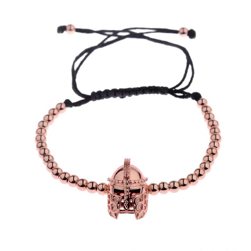 New Design Black CZ Stainless Steel Beads Braiding Buddha Bracelet Spartan Helmet Charm Bracelets For Women/Men Jewelry AB1016 12