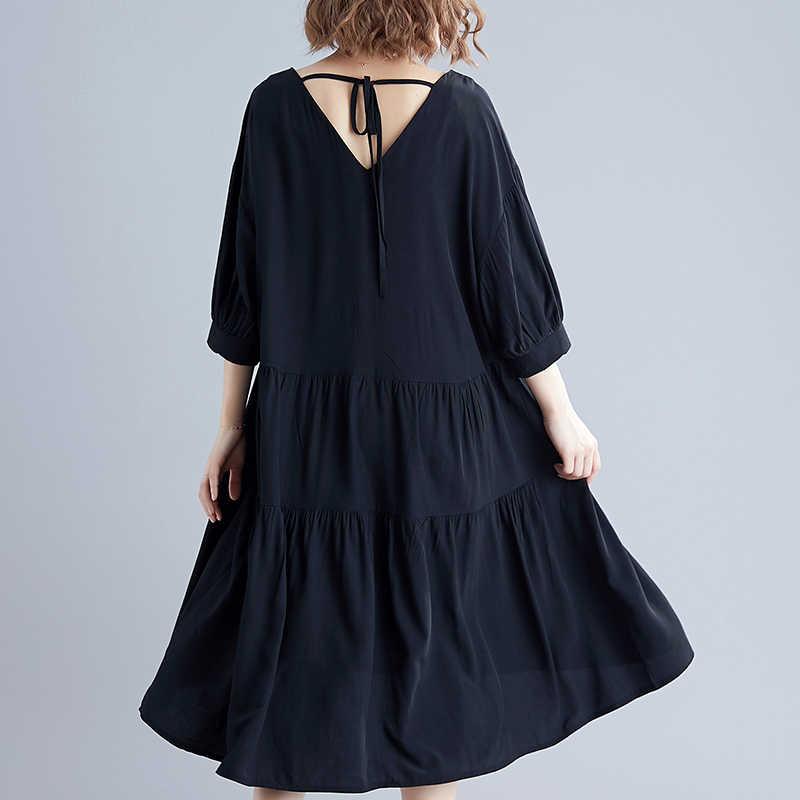 2019 בתוספת גודל גדול גודל כותנה נשי Vestidos נשים שמלה Loose ליידי אלגנטי ארוך שמלת קפלים שחור הקיץ הקיצי LP272