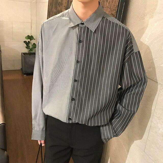2018 한국어 스타일 새로운 남성 패션 트렌드 세로 스트 라이프 느슨한 캐주얼 블루/블랙 긴 소매 고품질 셔츠 크기 M XL
