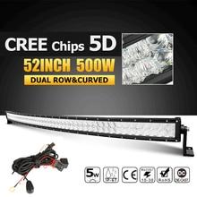 "Oslamp 52 ""500 W CREE Chipy 5D Kombi Zakrzywione LED Light Bar Offroad Led-oświetlenie Robocze światła Led Bar dla 12 v 24 v Ciężarówka ATV SUV Pickup 4WD 4×4"