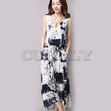 Cuerly Vintage Summer 2019 Chinese Ink and wash painting Printed Long Cotton linen Set 2 Pieces Women Casual Dress Plus Size