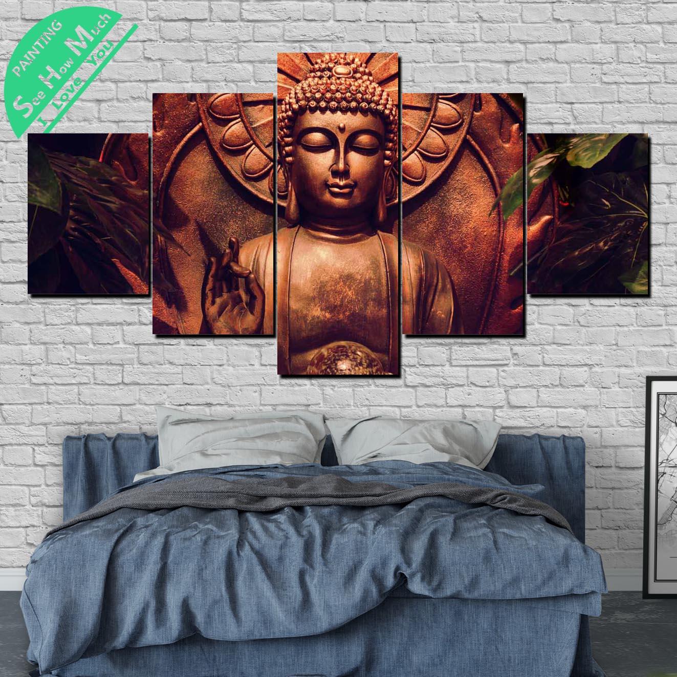 5 Шт. Медитация Будды Холст Картины Wall Art Pictures Печать на Холсте Home Decor Плакат Украшения