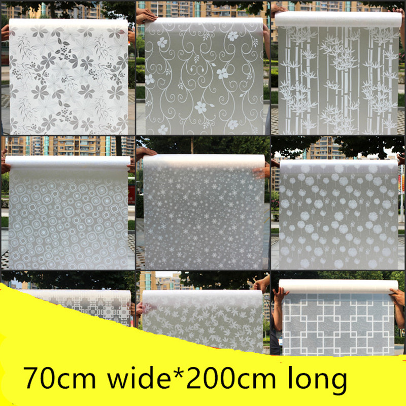 70cmX200CM opaque thick frosted cellophane toilet bathroom sliding doors windows film glass stickers waterproof shade sun film