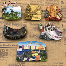 цены Famous Landmark Metal Refrigerator Stickers Creative Magnetic Stickers Country Decorative 3D Fridge Magnet Gift Keepsake
