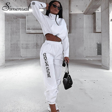 цена Simenual Letter Print Casual Workout  Piece Set Women Fashion Zipper Long Sleeve Tracksuits Sporty Active Wear Top And Pants Set