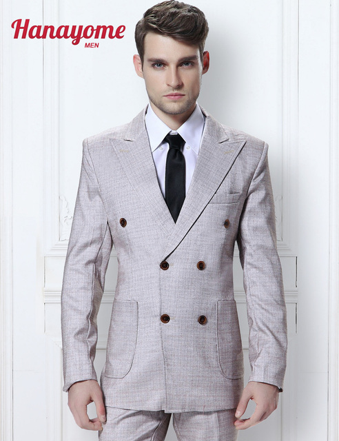 Fashion Men\'s 3 Pieces Suits Groom Double Breasted Grey Wedding ...