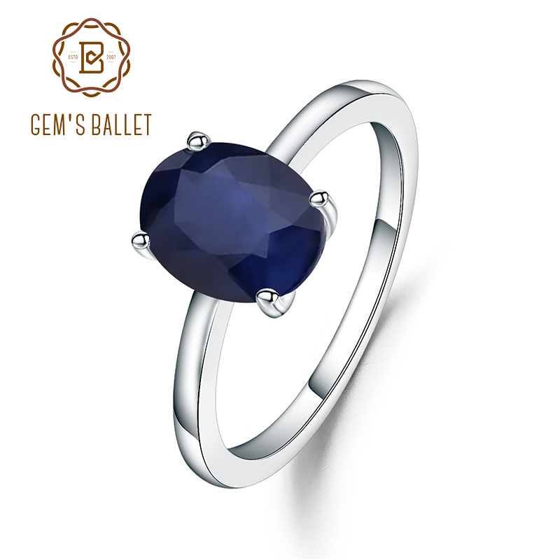 Gem's Ballet 2.02Ct Oval Natural Blue Sapphire Wedding Band Ring 925 Sterling Silver Birthstone Engagement Ring For Women
