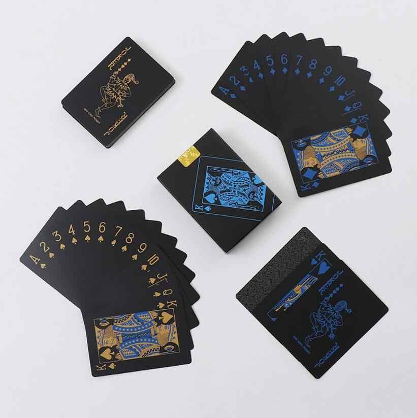 Calidad a prueba de agua de plástico de PVC jugando a las cartas de Poker clásico trucos de magia herramienta negro puro Caja Mágica-embalado envío gratis GYH