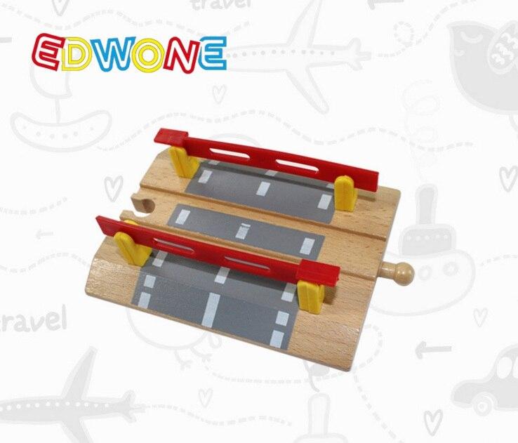 TTC28 Railroad Crossing A Wooden Train Scene Track Accessories BRIO Toy Car Truck Locomotive Engine Railway Toys For Children