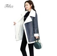Autumn Winter Suede Coat 2018 New Women Faux Lamb Liner Warm Biker Jacket Ladies Loose Gray Patchwork Leather Jackets