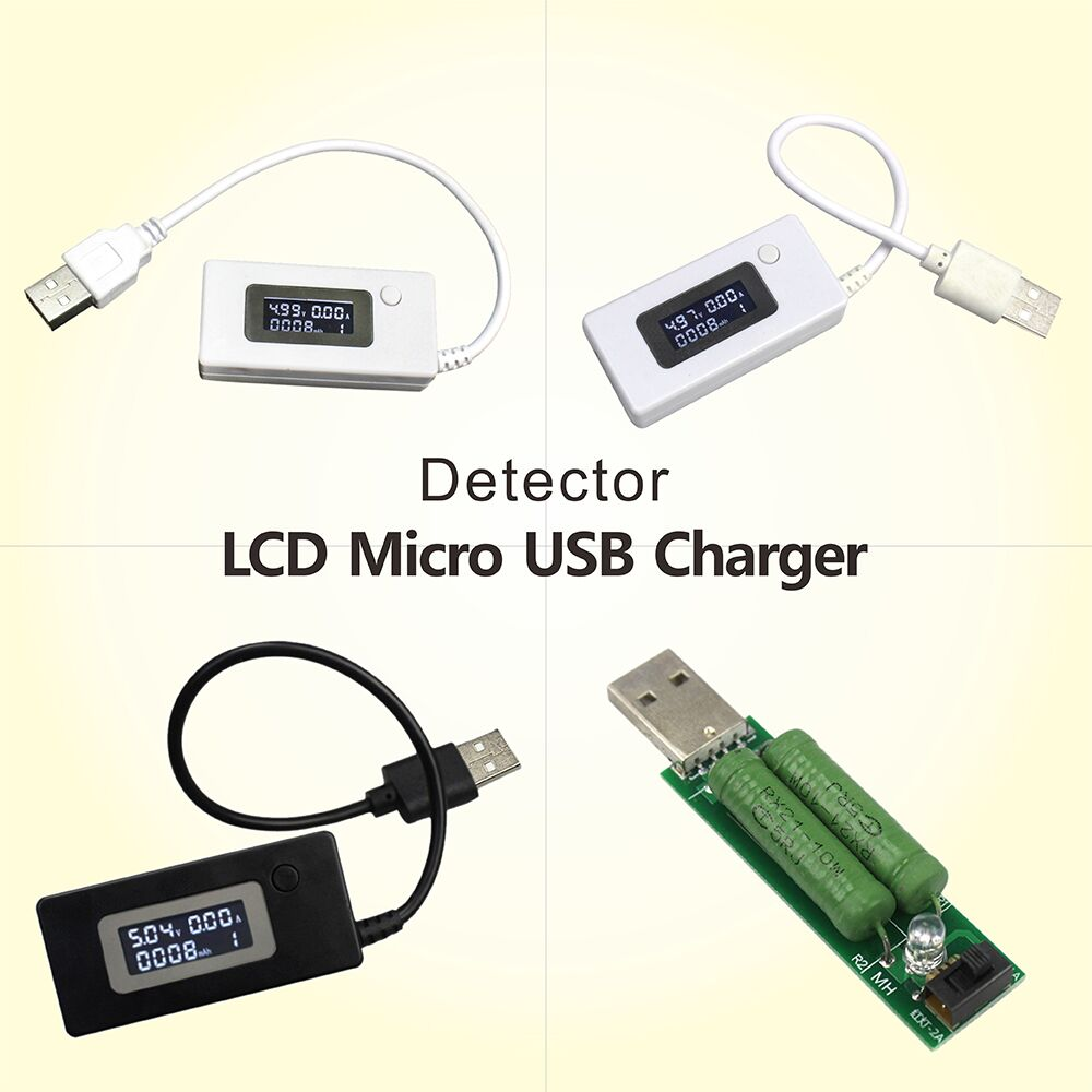LCD Micro USB Charger Battery Capacity Voltage Current Tester Meter Detector White/Black Color+Load Resistor 2A/1A With Switch