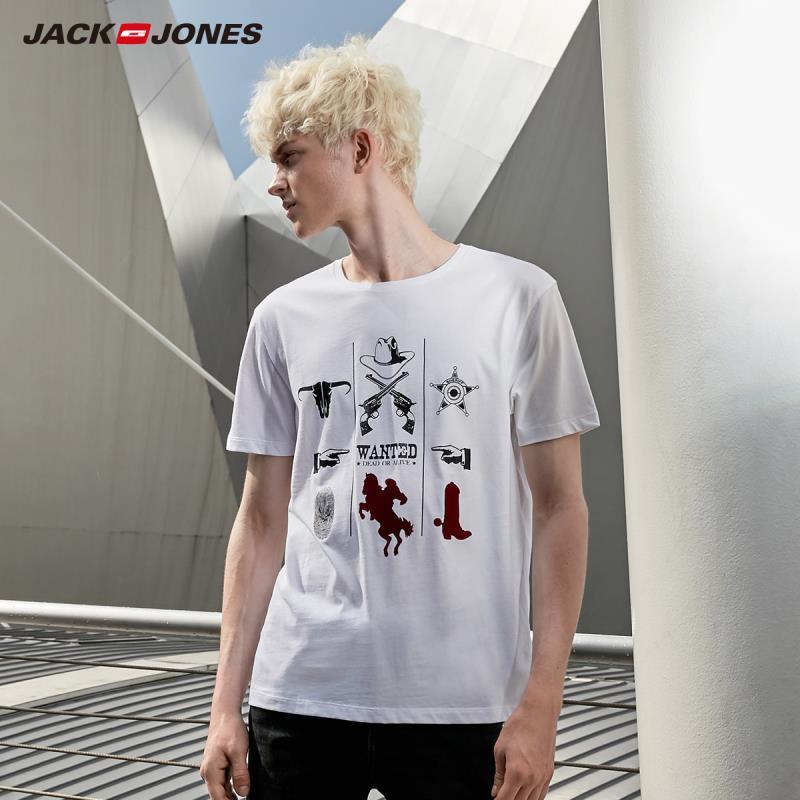 JackJones Men's 100% Cotton T Shirt Comfortable Printed Short-sleeved Beach Style T-shirt 219201503