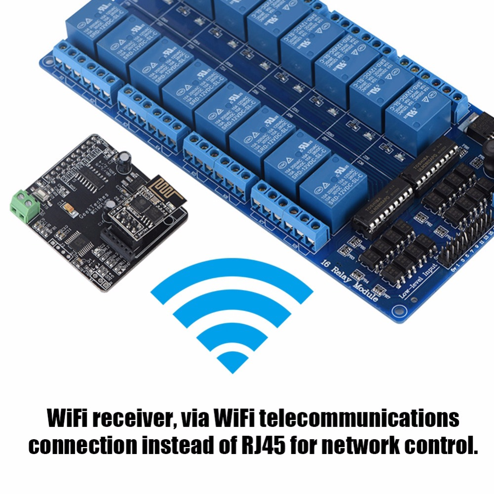 DIY WIFI Network IO Remote Controller + 16 Channels Relay for Arduino Development Board 5v 2 channel ir relay shield expansion board module for arduino with infrared remote controller