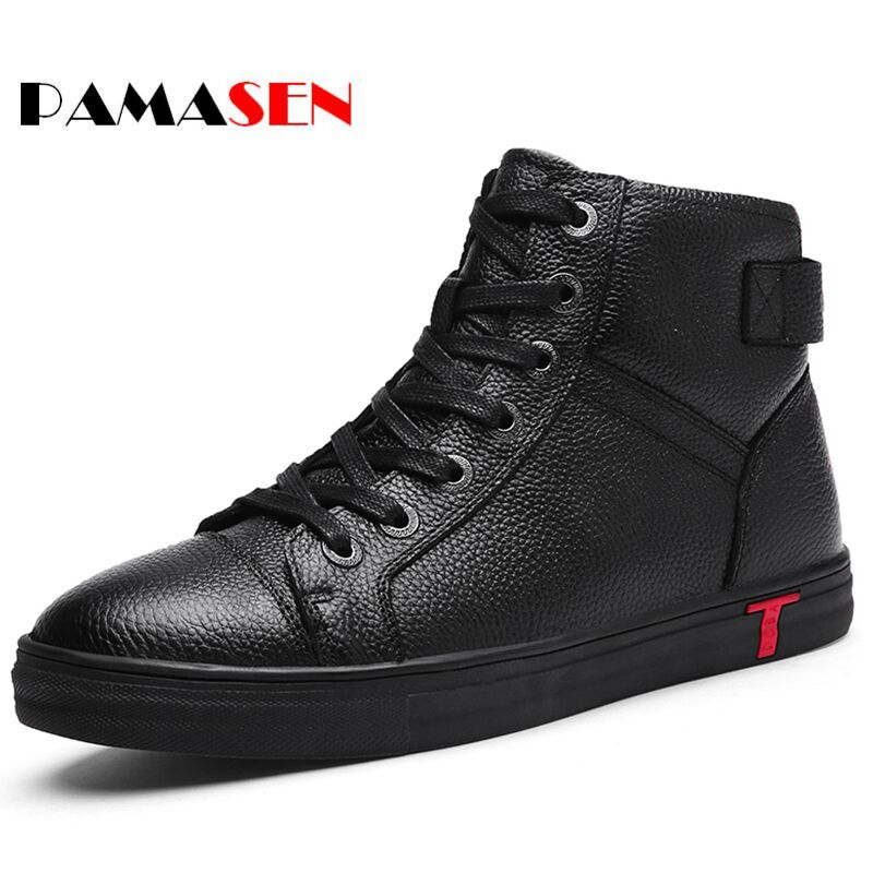 PAMASEN Autumn Winter Plush Warm Genuine Leather Men Casual Shoes Black High-top Lace-up And ankle Shoes Espadrilles Men's Flats autumn warm plush winter shoes men zipper 100% genuine leather boots men thick bottom waterproof black high top ankle men boots