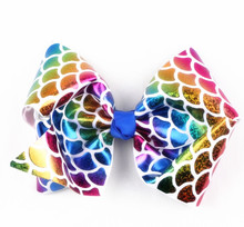 80pcs DHL free shipping Mermaid pinup ribbon hairbow Rainbow Dragon scale ribbon Hairbow Fish Scale ribbon Hairbow