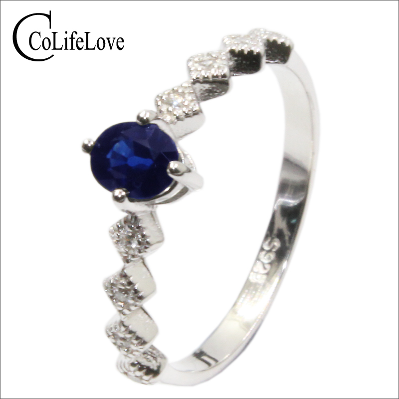 100% natural royal blue sapphire ring for woman 4 mm * 5mm VS grade sapphire silver jewelry 925 sterling silver sapphire wedding цены онлайн
