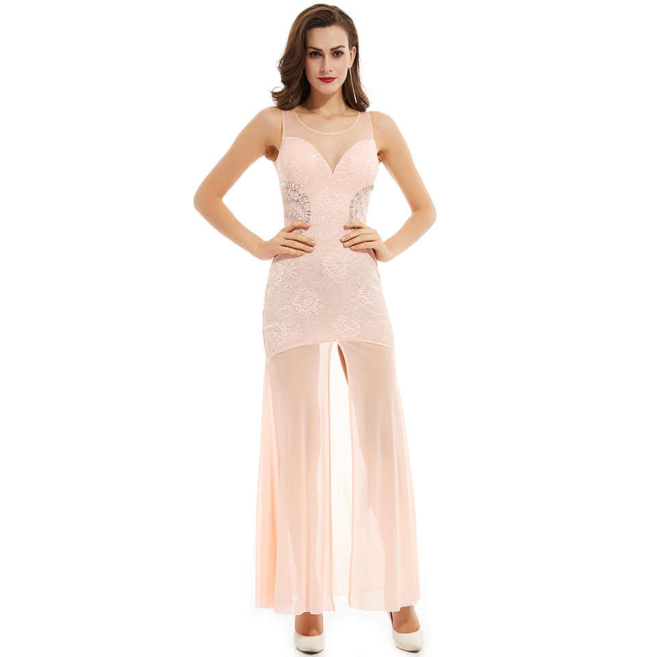 Dressv الخوخ مغرفة الرقبة فستان سهرة طويل رخيصة كريستال الدانتيل حفل زفاف فستان رسمي غمد فساتين السهرة