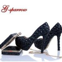 Черные свадебные туфли из кристаллов в комплекте с клатчем свадебные вечерние туфли со стразами туфли лодочки для выпускного бала стильные