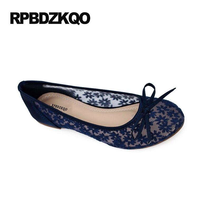 Bow bout rond femmes appartements léger dentelle dames belles chaussures évider grande taille bleu respirant fleur 34 pas cher printemps - 2