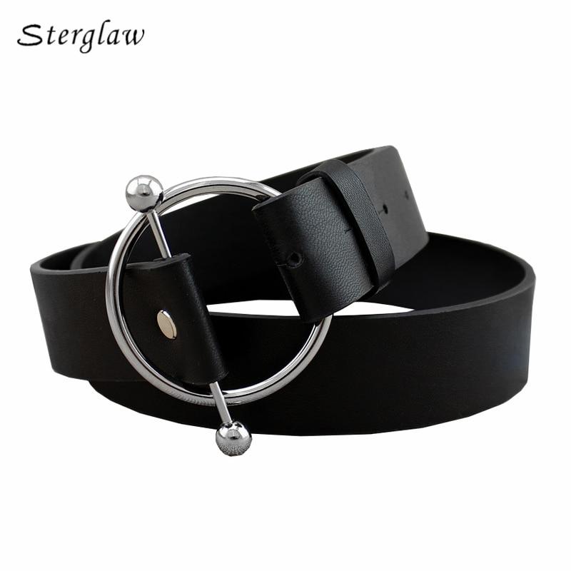 90cm Newest Silver Round buckle   belts   woman 2018 hot women's   belts   without pin metal buckle black leather strap   belt   women F130