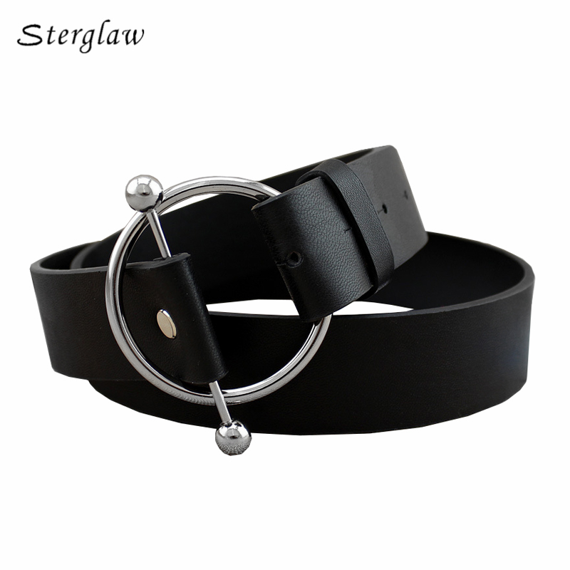 90cm Newest Silver Round buckle   belts   woman 2019 hot women's   belts   without pin metal buckle black leather strap   belt   women F130
