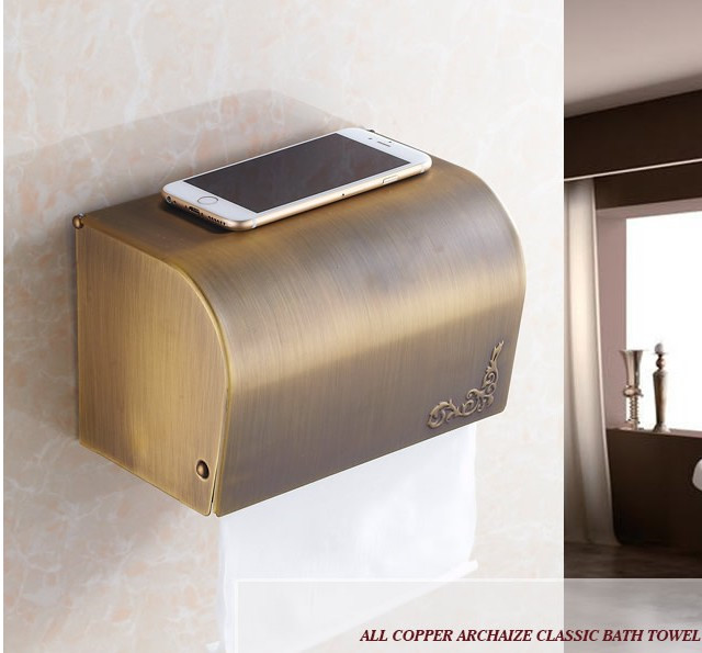 Antique Brass Finish Toilet Paper Holder waterproof Design/Bronze Paper Towel Holder/Fashion Roll Holder,Bathroom tissue box copper open toilet paper tissue towel roll paper holder silver