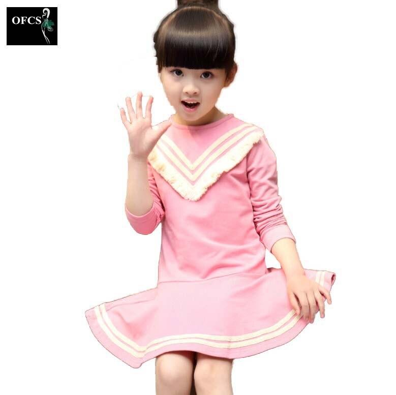 2017 Kids Girls Autumn Dress Striped Long Sleeve Dresses Cotton Girls Back to School Clothes Children Tassel Clothing Girl Dress