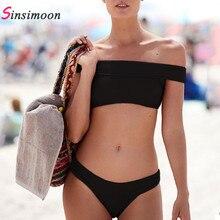 Sexy off shoulder knitting bikini set biquini Casual solid swimwear women swimsuit beach swimming 2019 Two pieces bathing suit