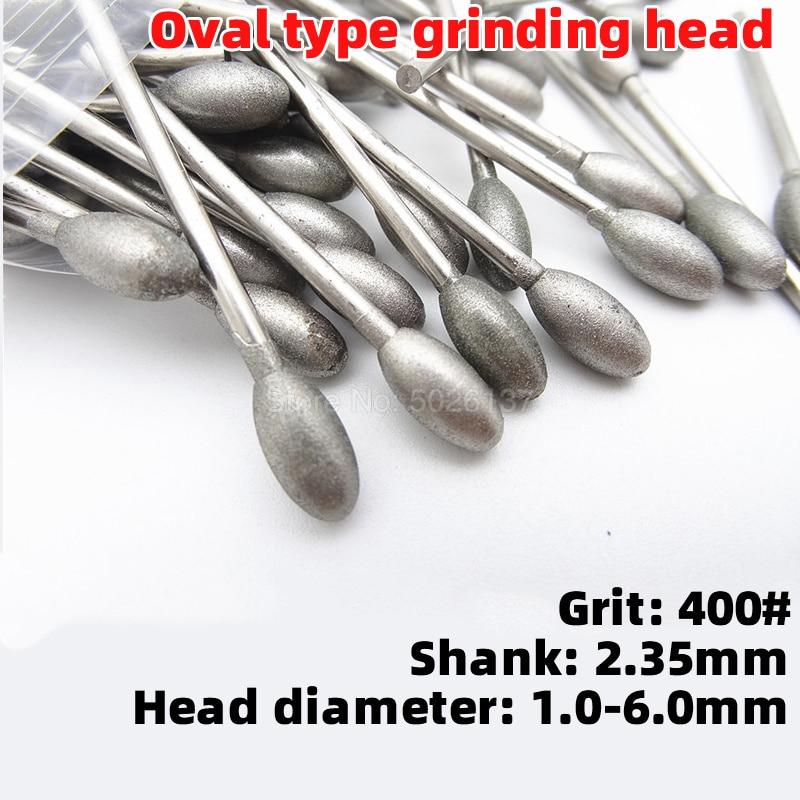 1Pcs 400 Grit Fine Sanding Head Oval Diamond Grinding Burrs Bits Shank Jade Stone Carving Polishing Engraving Tool