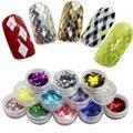 2015 New Design 12 Cores Decorações Da Arte Do Prego Fatia Pó Losango Paillette Glitter Nails Glitter 3D Conjunto Dedo Projeto WY217