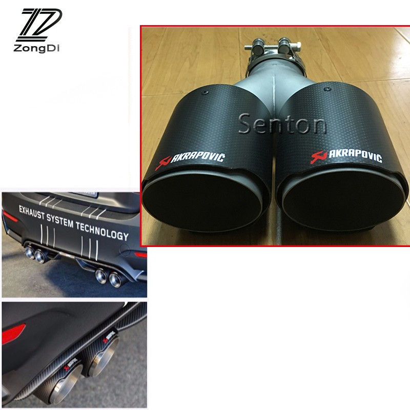 ZD Twin Outlet Car Carbon Fiber Exhaust Muffler Pipe For Peugeot Jeep Citroen Renault Hyundai Seat Kia Volvo Lada Abarth Skoda heart shaped car muffler dual exhaust pipe for toyota corolla camry seat ibiza ssangyong skoda renault ford honda mercedes bmw